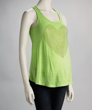 Lime Sequin Heart Maternity Tank