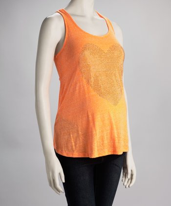 Orange Sequin Heart Maternity Tank