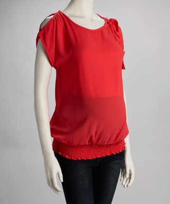 Coral Maternity Cutout Top - Women