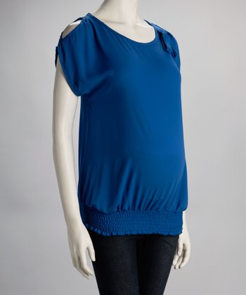 Royal Blue Maternity Cutout Top - Women