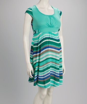 Aqua & Blue Stripe Maternity Cap-Sleeve Dress