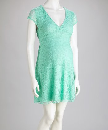 Mint Lace Maternity Surplice Dress
