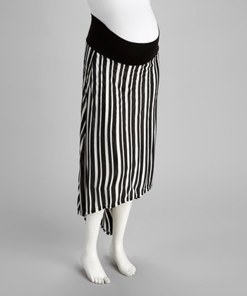 Black & White Stripe Maternity Hi-Low Skirt