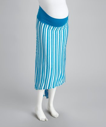 Blue & White Stripe Maternity Hi-Low Skirt