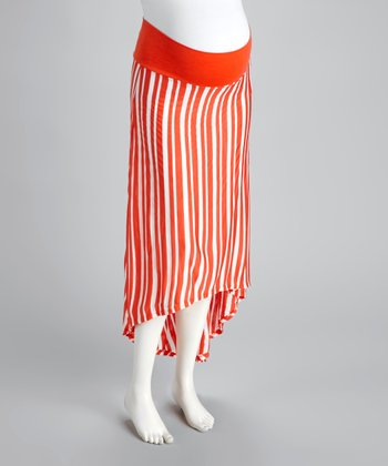 Orange & White Stripe Maternity Hi-Low Skirt
