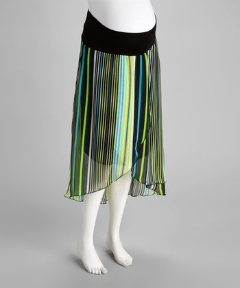 Green Stripe Maternity Hi-Low Skirt - Women