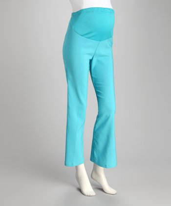Aqua Over-Belly Maternity Pants - Plus