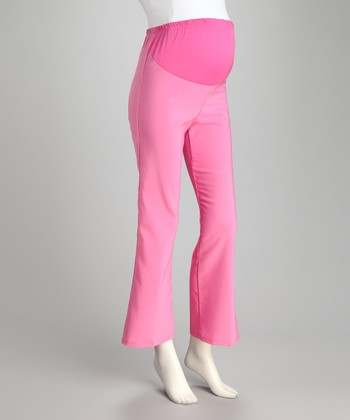 Fuchsia Over-Belly Maternity Pants - Plus