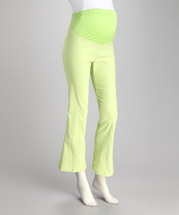 Green Over-Belly Maternity Pants - Plus