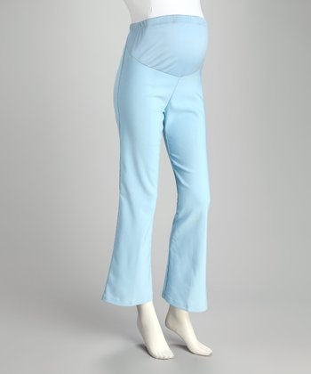 Light Blue Over-Belly Maternity Bootcut Pants