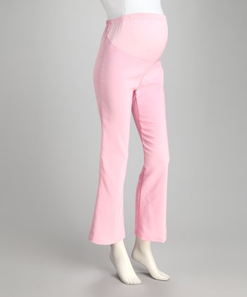 Light Pink Over-Belly Maternity Pants - Plus
