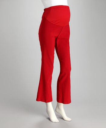 Red Over-Belly Maternity Bootcut Pants - Plus