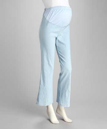 Light Blue Stripe Over-Belly Maternity Pants
