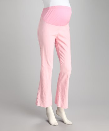 Light Pink Stripe Over-Belly Maternity Pants