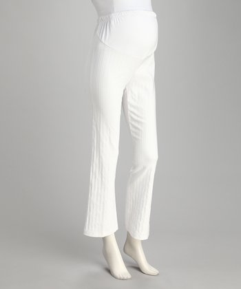 White Stripe Over-Belly Maternity Pants