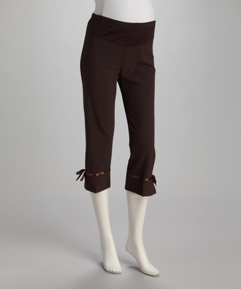 Brown Ribbon Over-Belly Maternity Capri Pants - Women