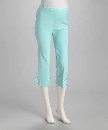 Light Blue Ribbon Over-Belly Maternity Capri Pants - Women