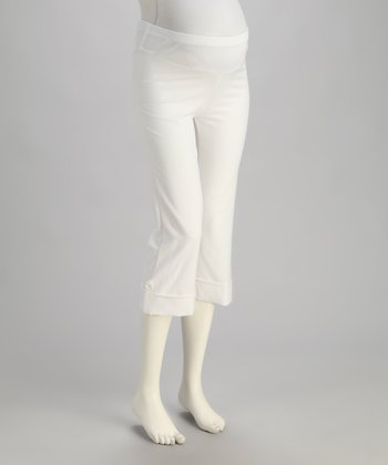 White Cuffed Mid-Belly Maternity Capri Pants - Women