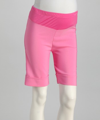 Pink Cuffed Mid-Belly Maternity Shorts