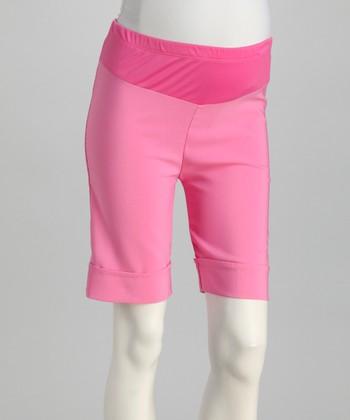 QT Maternity Pink Cuff Mid-Belly Maternity Shorts - Women