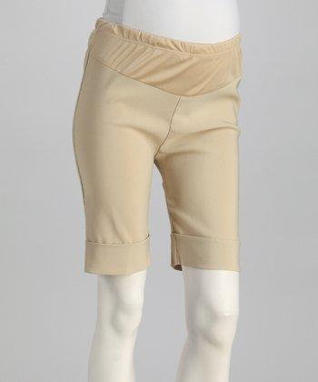 QT Maternity Tan Cuff Mid-Belly Maternity Shorts - Women