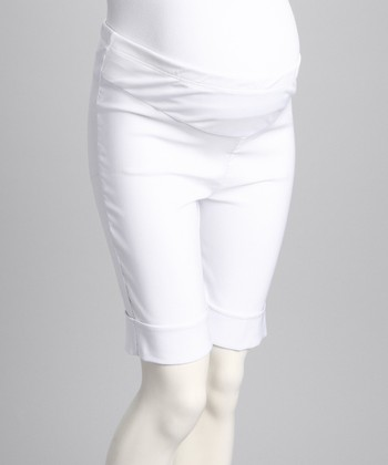 White Cuff Mid-Belly Maternity Shorts - Women