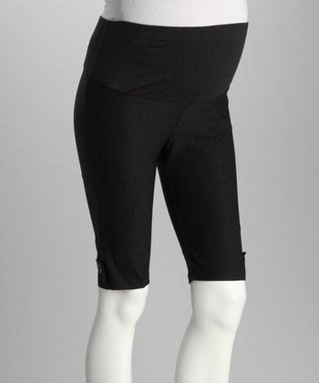 Black Maternity Mid-Belly Bermuda Shorts