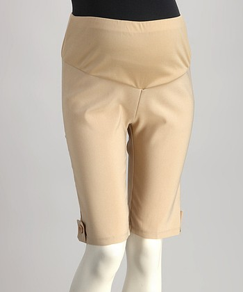 Khaki Mid-Belly Maternity Bermuda Shorts