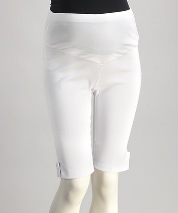 QT White Mid-Belly Maternity Plus-Size Bermuda Shorts