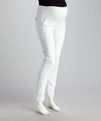 White Mid-Belly Maternity Straight-Leg Pants
