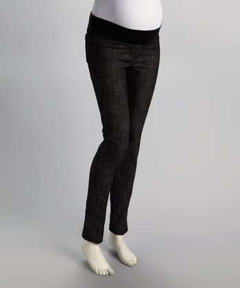 Black Under-Belly Maternity Skinny Pants - Plus