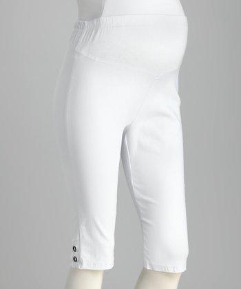 QT Maternity White Over-Belly Maternity Bermuda Shorts - Women