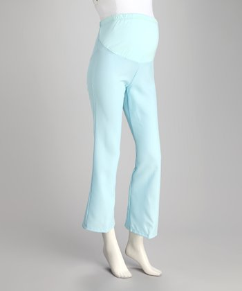 Light Blue Over-Belly Maternity Slacks
