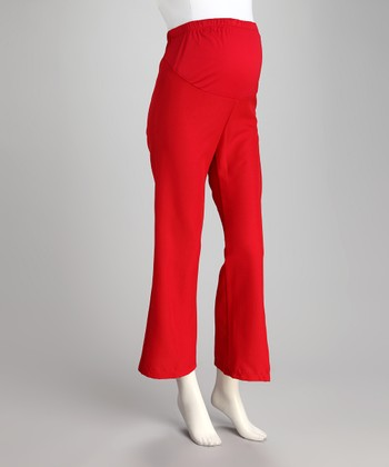 Red Over-Belly Maternity Pants