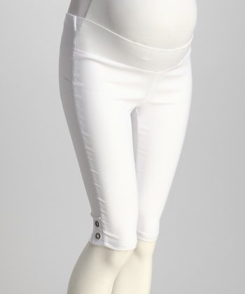 QT Maternity White Under-Belly Maternity Bermuda Shorts - Women