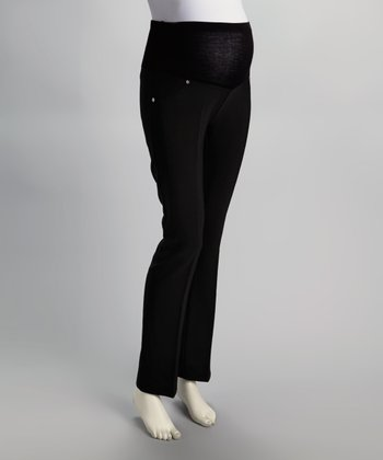 Black Mid-Belly Maternity Pants - Women