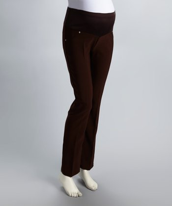 Brown Mid-Belly Maternity Pants - Women