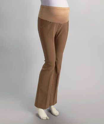 Khaki Mid-Belly Maternity Pants - Women