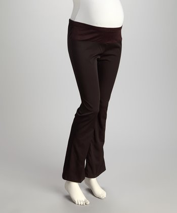 Brown Under-Belly Maternity Trouser Pants - Plus