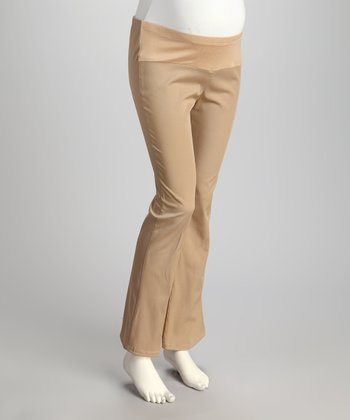Khaki Under-Belly Maternity Trouser Pants - Plus