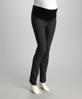 Black Pinstripe Mid-Belly Maternity Skinny Pants - Plus
