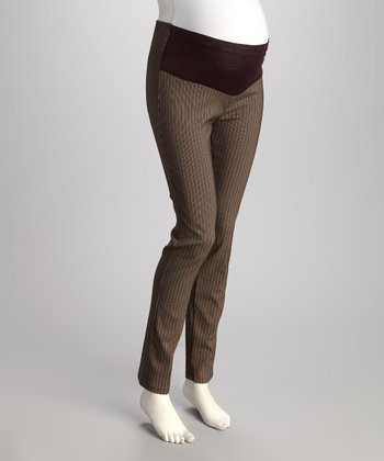 Brown Pinstripe Mid-Belly Maternity Skinny Pants - Women & Plus