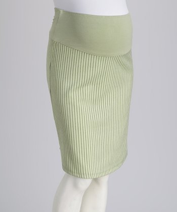 Green Stripe Over-Belly Maternity Pencil Skirt