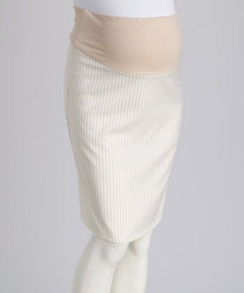 Khaki Over-Belly Maternity Pencil Skirt