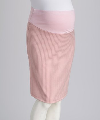 Pink Over-Belly Maternity Pencil Skirt