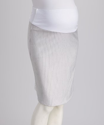 White Over-Belly Maternity Pencil Skirt