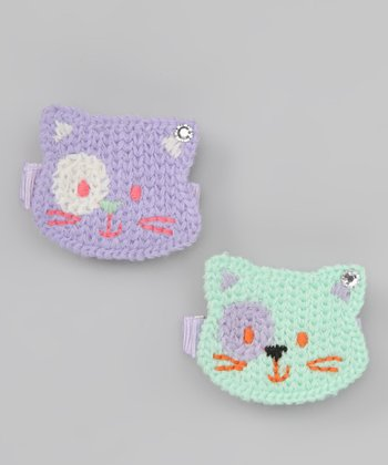 Green & Purple Cat Clip Set