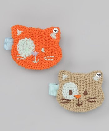 Orange & Ecru Cat Clip Set