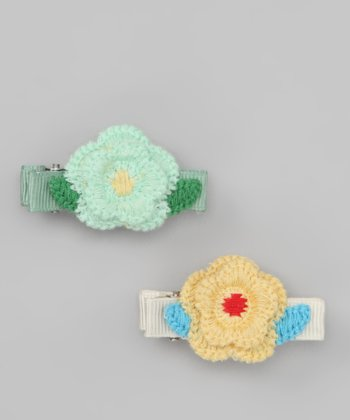 Yellow & Green Dot Flower Clip Set