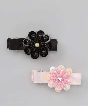 Pink & Black Medallion Clip Set